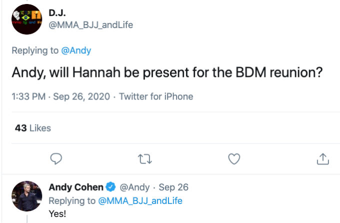 Andy Cohen tweets about Below deck Med reunion and Hannah.