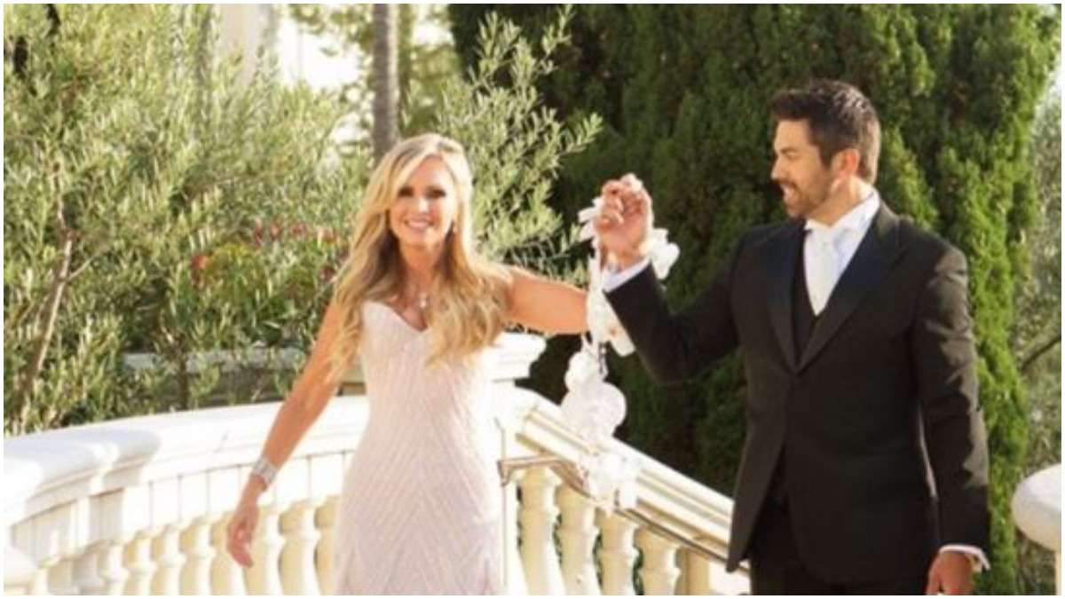 Tamra Judge poses with husband Eddie Judge on their wedding day