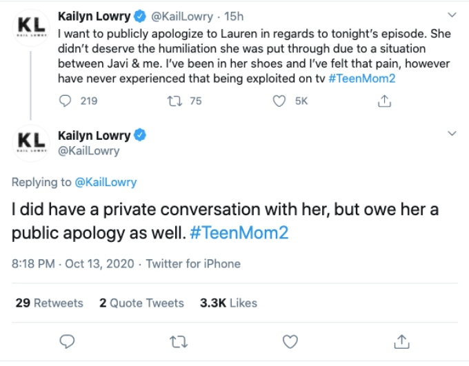 Kailyn's public apology to Lauren. Pic credit: @KailLowry / Twitter