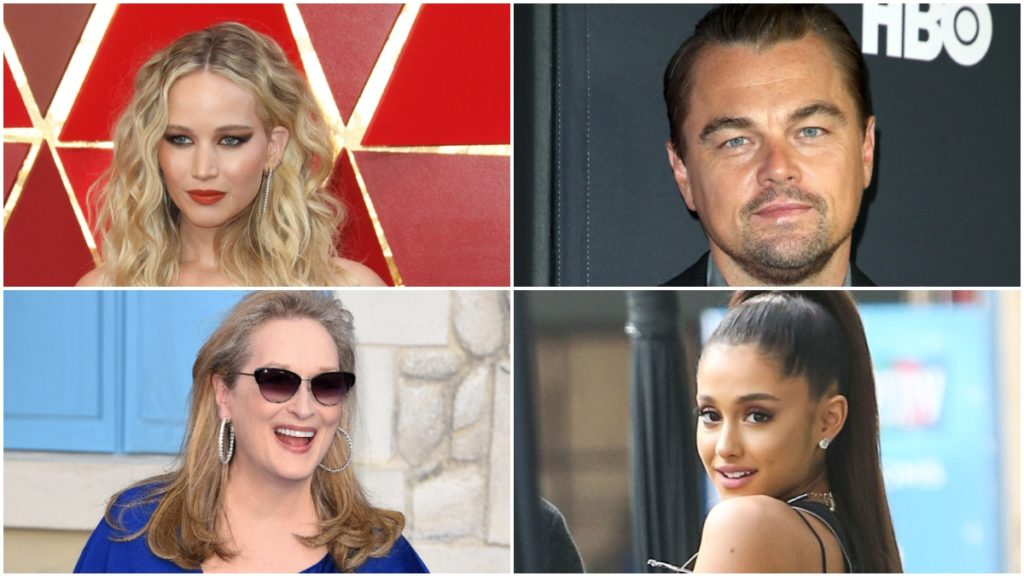 Jennifer Lawrence, Leonardo DiCaprio, Arianna Grande, and Meryl Streep on the red carpet