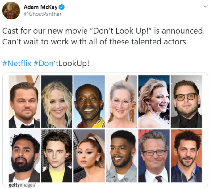 Adam McKay tweets about new movie