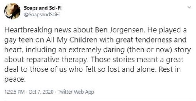 Ben Jorgensen death announcement on Twitter