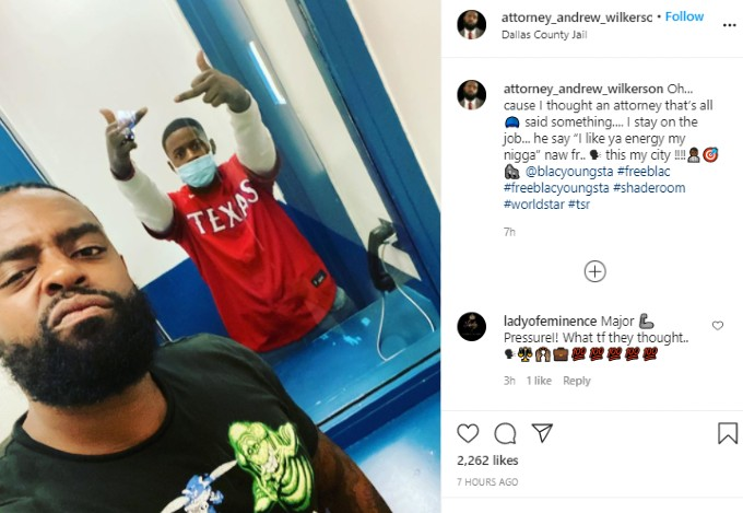 Blac Youngsta's lawyer post pic of the rapper in jail