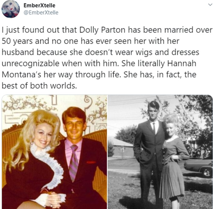Tweet explaining why we never see Parton's husband