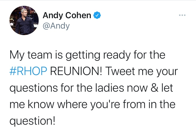 You can send in your RHOP questions to Andy Cohen for the reunion