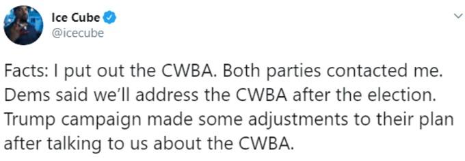Tweet form Ice Cube defending CWBA