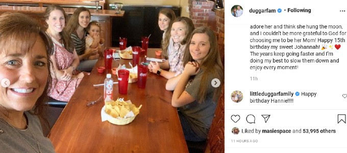Jill Duggar with her family on Instagram.