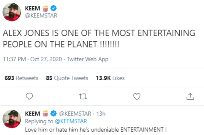 Keemstar tweets about Alex Jones