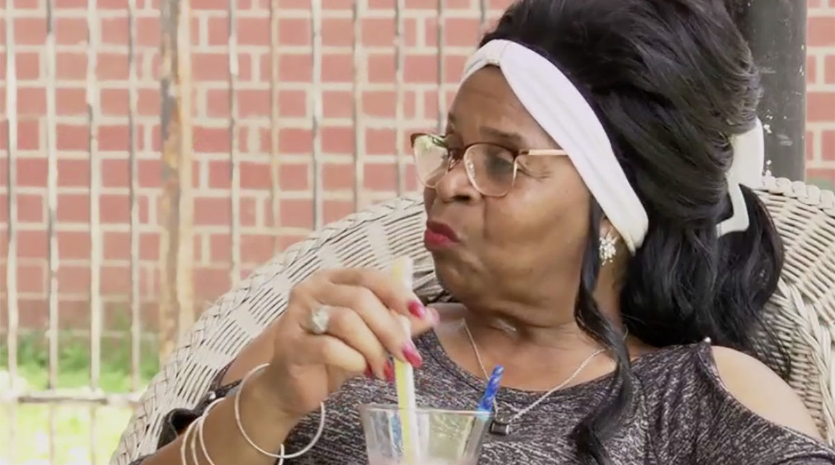 MAFS Season 11 Woody's Grandma drinking a cocktail