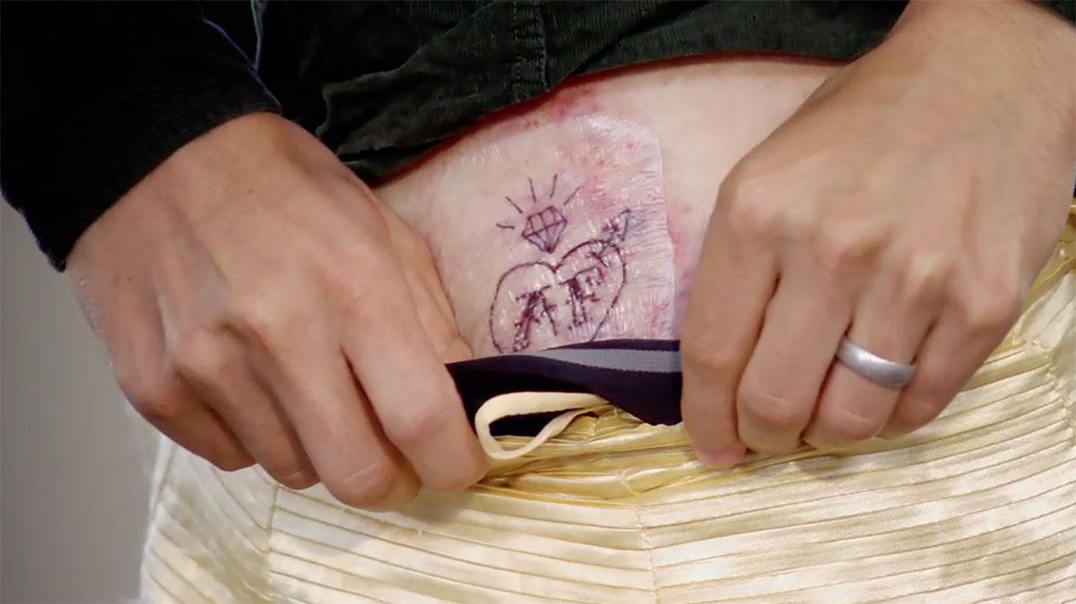 MAFS Season 11 couple Bennett showing his tattoo of Amelia's initials