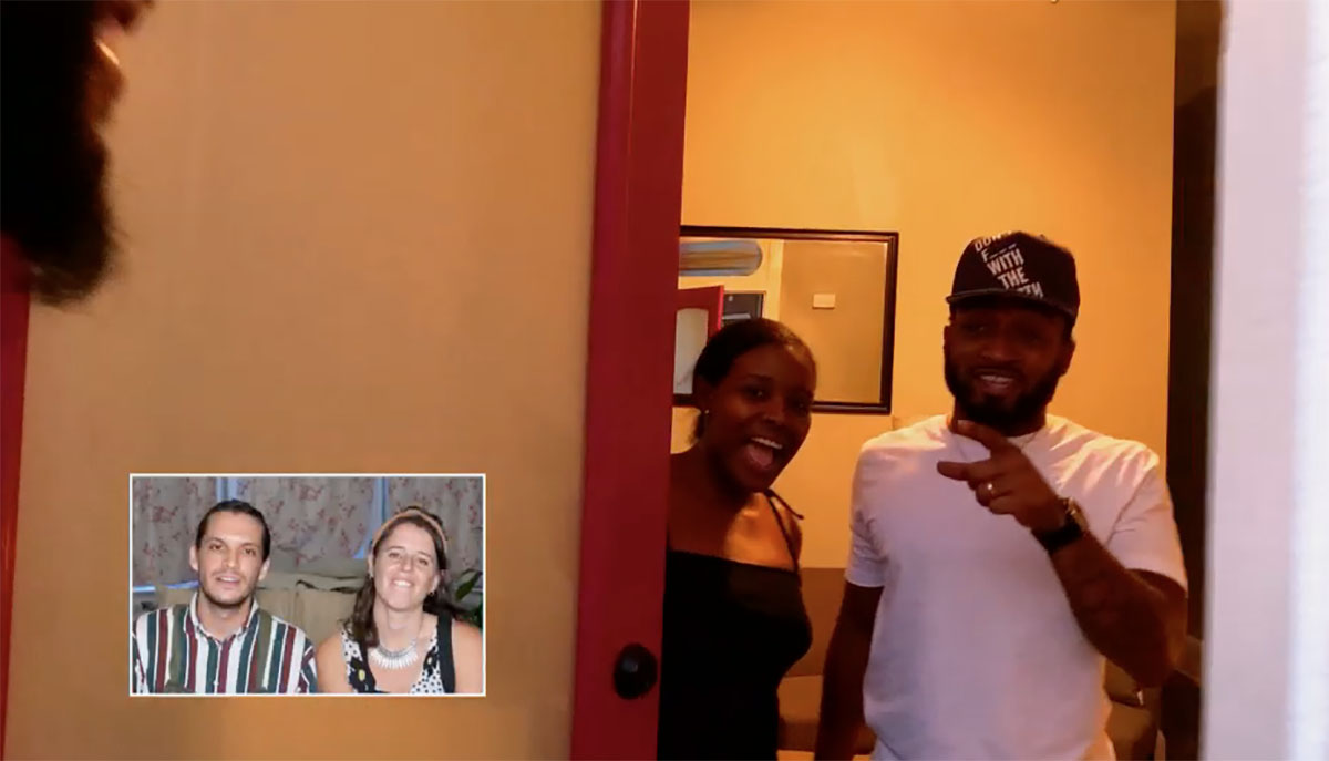 MAFS Amani and Woody opening front door to Miles