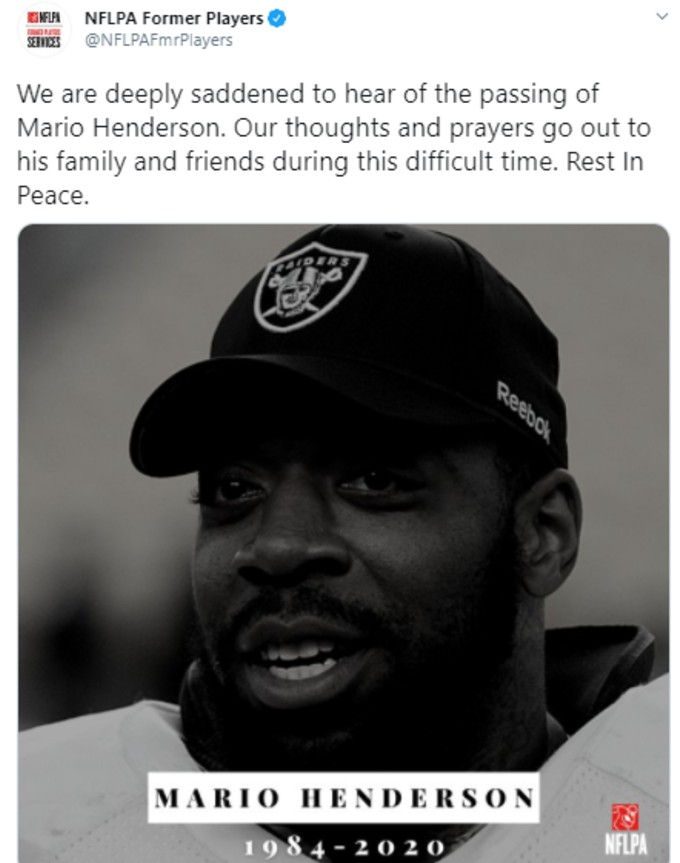 NFLPA former players tweet tribute to Henderson