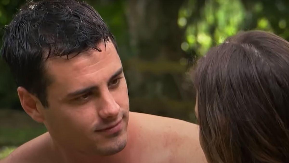 Ben Higgins with wet hair staring at Jojo Fletcher