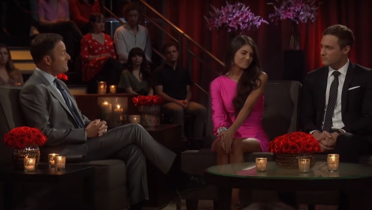 Chris Harrison talks to Madison Prewett and Peter Weber during the After the Final Rose taping
