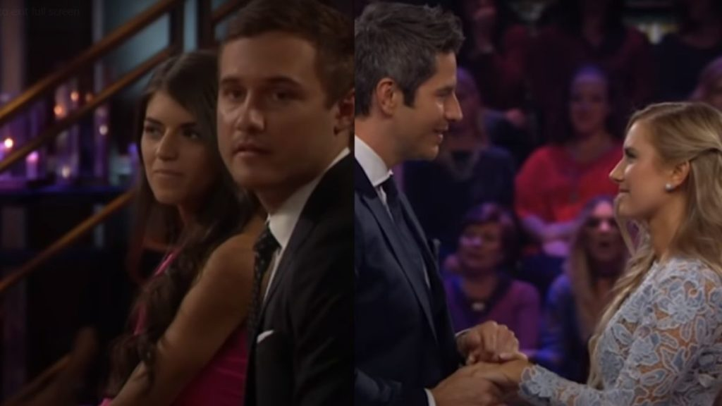 Peter Weber and Madison Prewett next to Arie Luyendyk Jr and Lauren Burnham during After the Final Rose