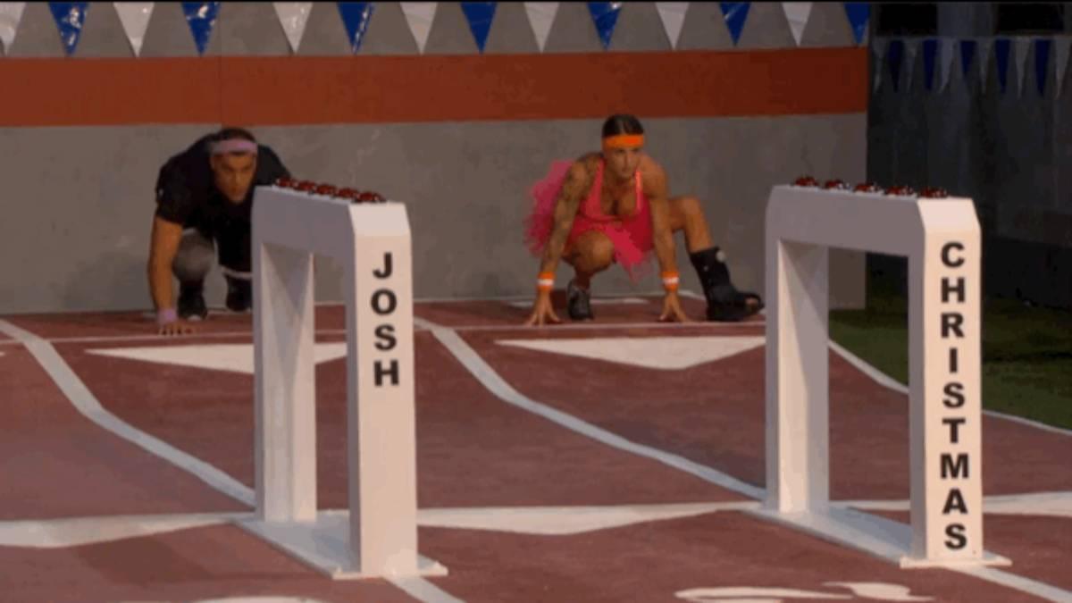 Josh Martinez and Christmas Abbott lunge preparing to run.