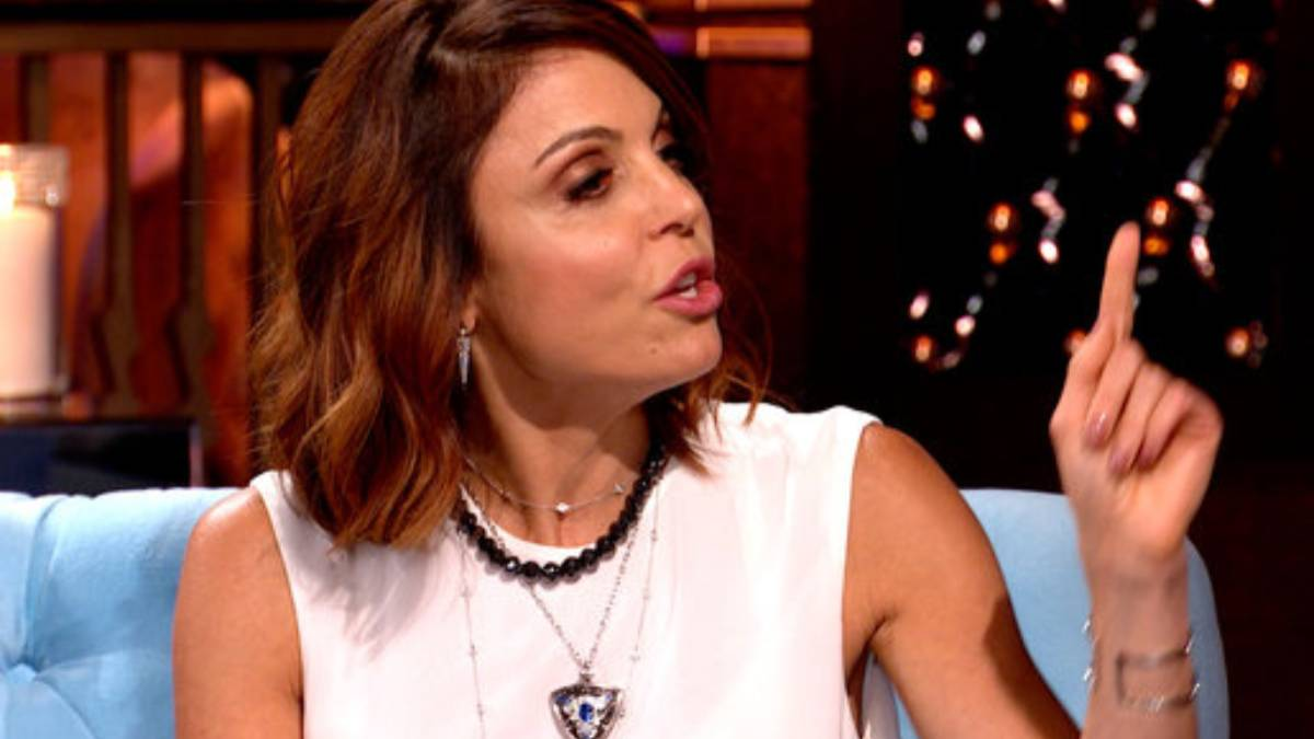Bethenny Frankel points her finger as she talks during RHONY reunion.