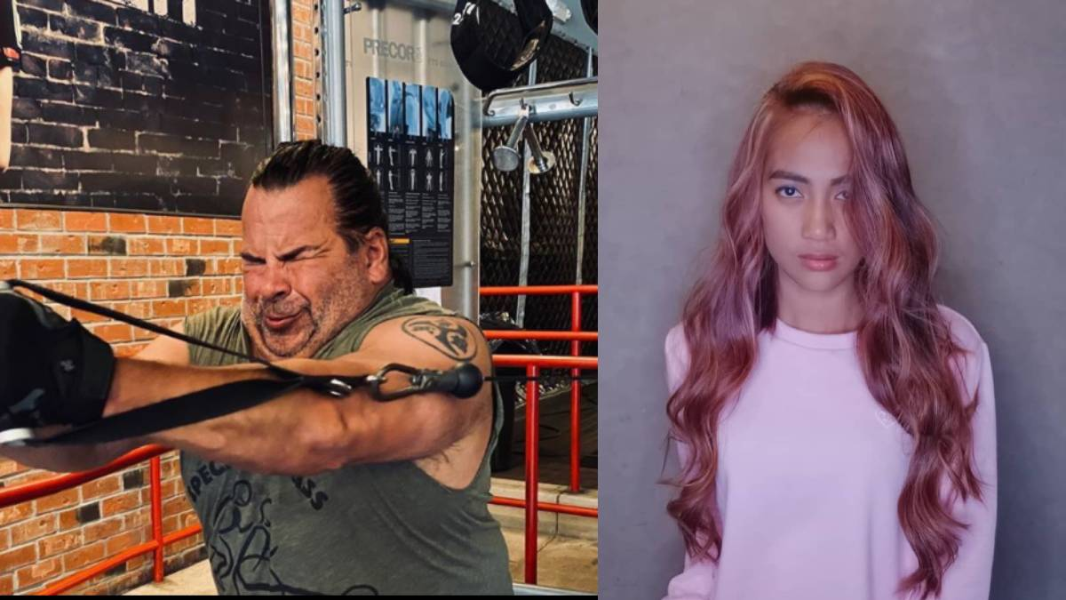 Big Ed strains while exercising on a Functional Trainer while Rose Vega shows off her new rose gold hair.