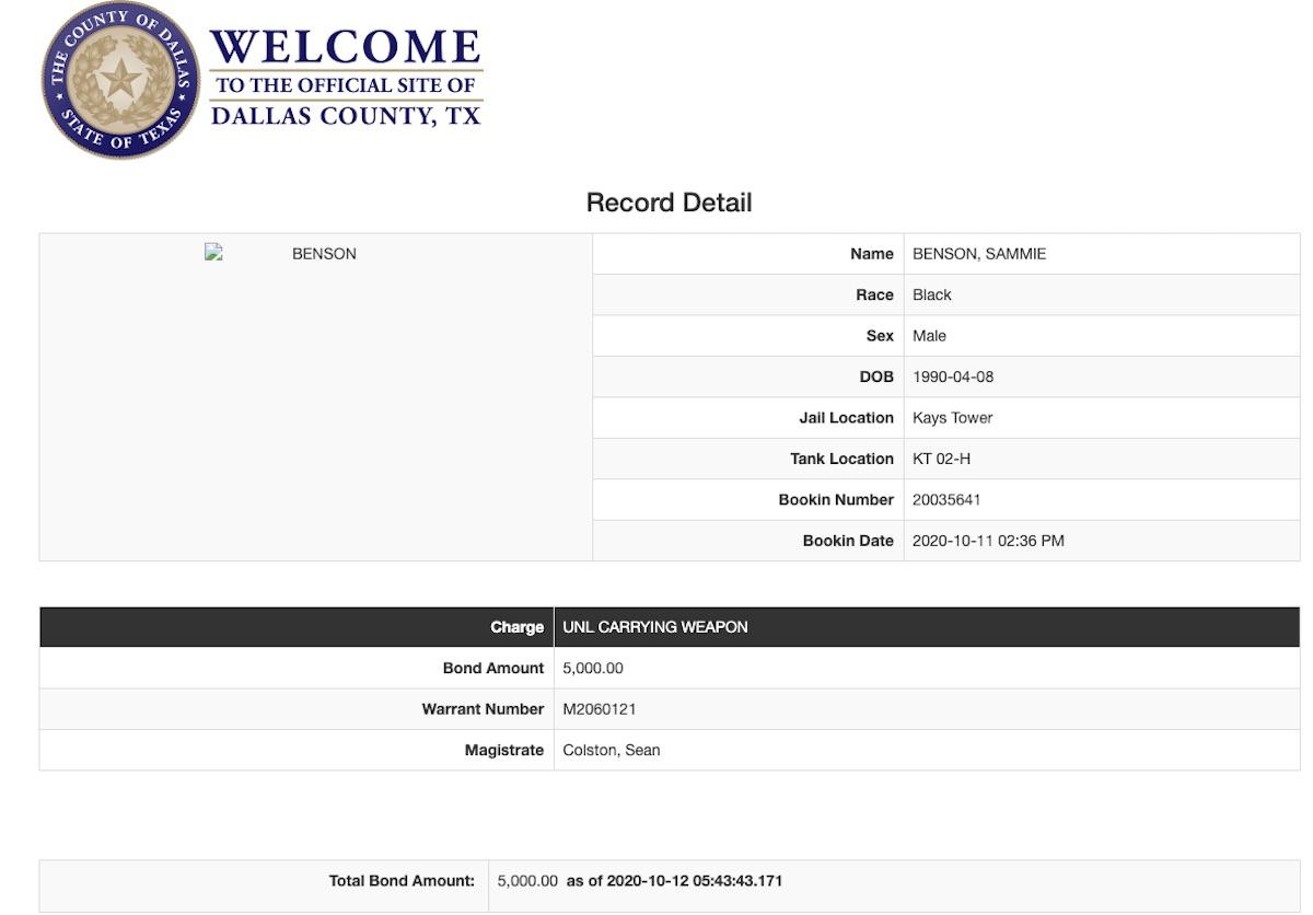 Blac Youngsta's jail bookin sheet