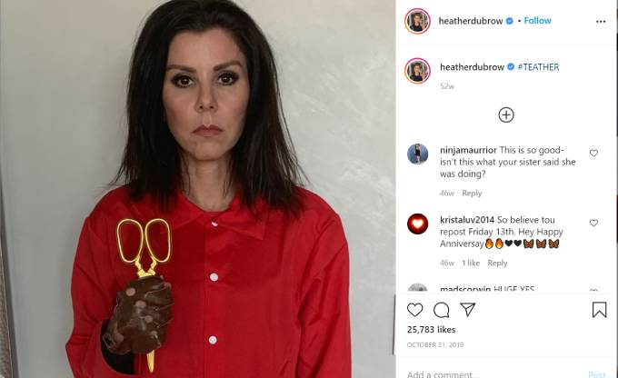 Heather Dubrow dresses up as a character from Us for Halloween.