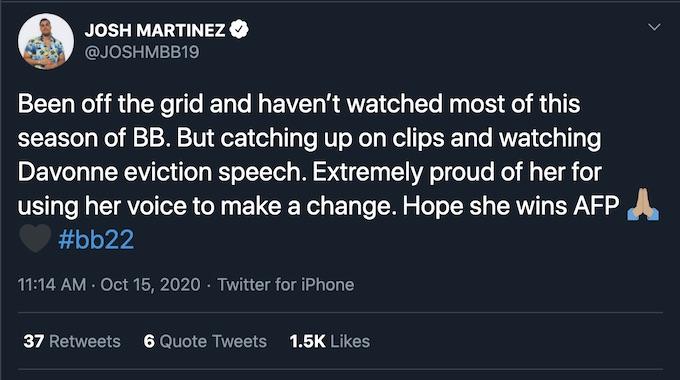 josh martinez tweet off grid davonne rogers