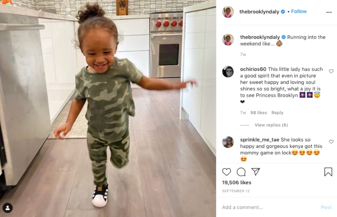 Kenya Moore's baby Brooklyn isBrooklyn Daly is growing-up fast.