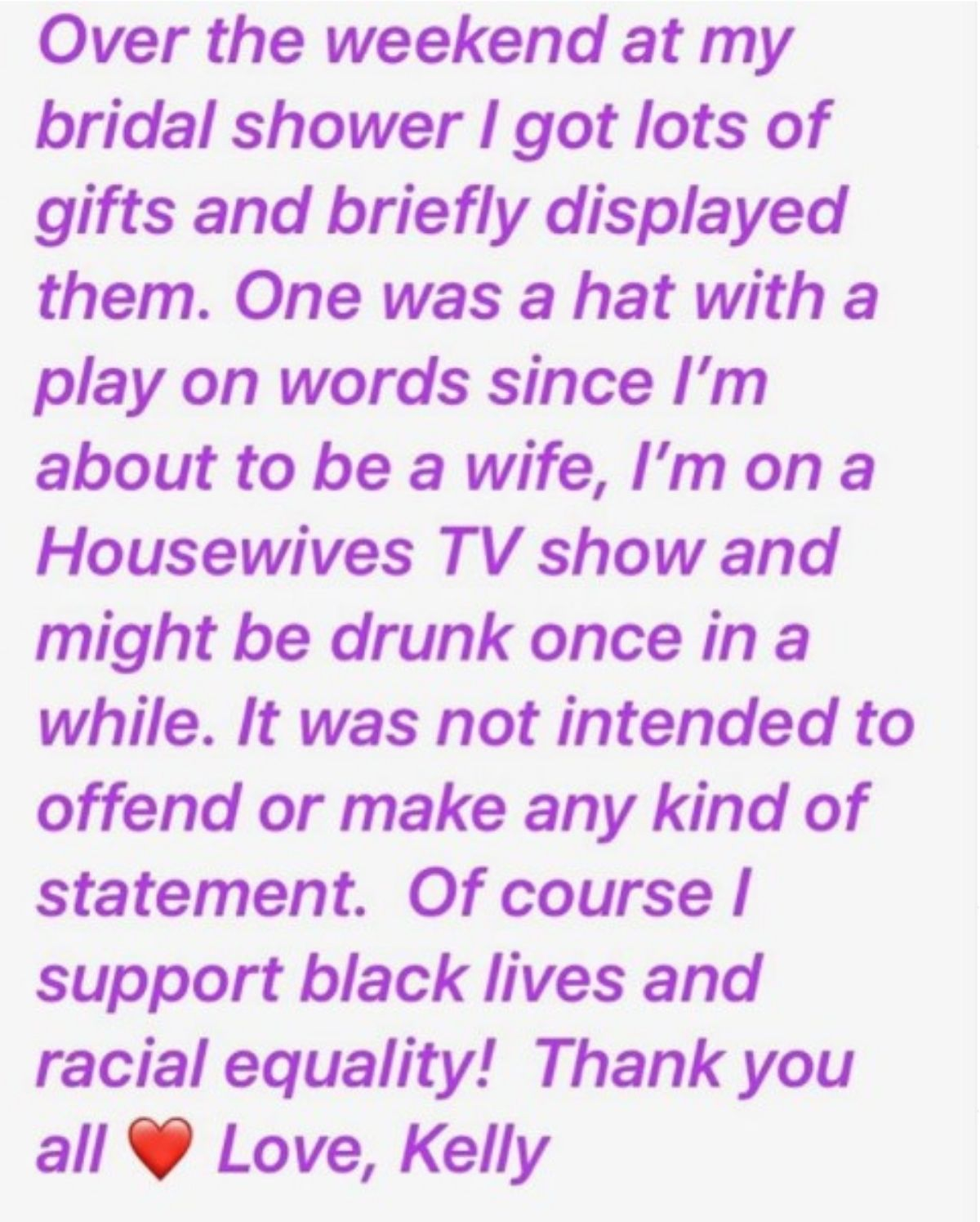 Kelly Dodd posts apology for posting 'Drunk Wives Matter' to Instagram. Claims she meant no offense.