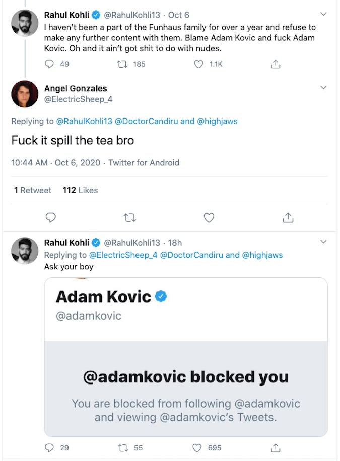 Rahul Kohli's tweet about Adam Kovic