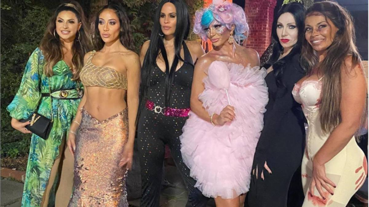 The Real Housewives of New Jersey pose at a Halloween costume party.