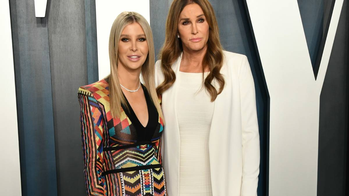 Sophia Hutchins (left) and Caitlyn Jenner (right) pose on the right carpet