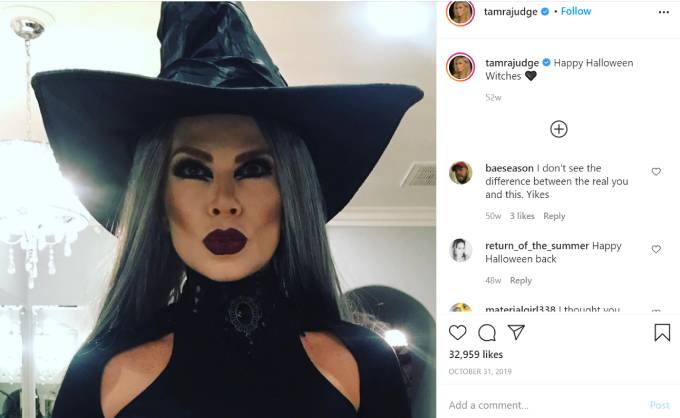 Tamra Judge dresses up like a witch for Halloween.