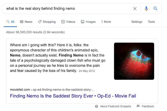 A theory on Finding Nemo