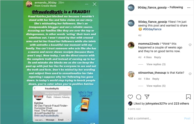 Armando's Instagram post. Pic credit: @90day_fiance_gossip/Instagram