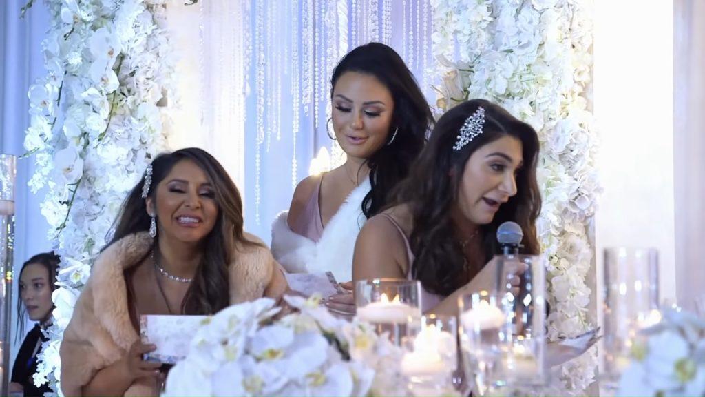 Jenni Farley, Nicole Polizzi and Deena Cortese at Angelina Pivarnick's wedding