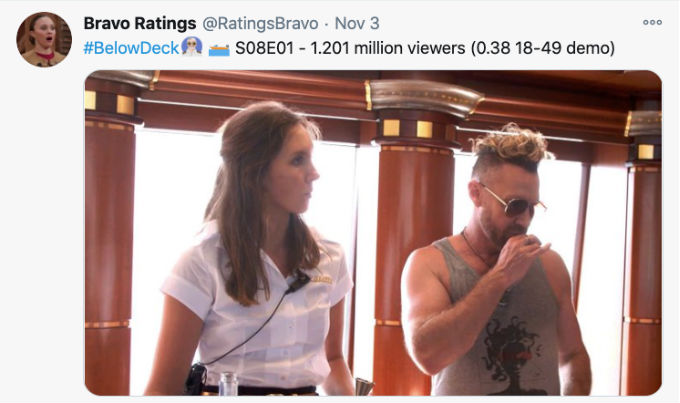 Below Deck Season 8 ratings.