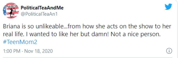 Fan calls Briana Dejesus of Teen Mom 2 unlikeable