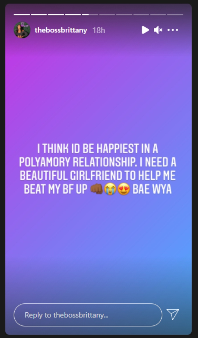 Brittany Banks posts about polyamory on her Instagram story.