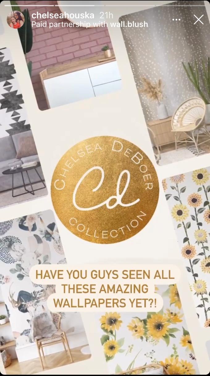 Chelsea Houska debuts new wall paper line in her Instagram stories