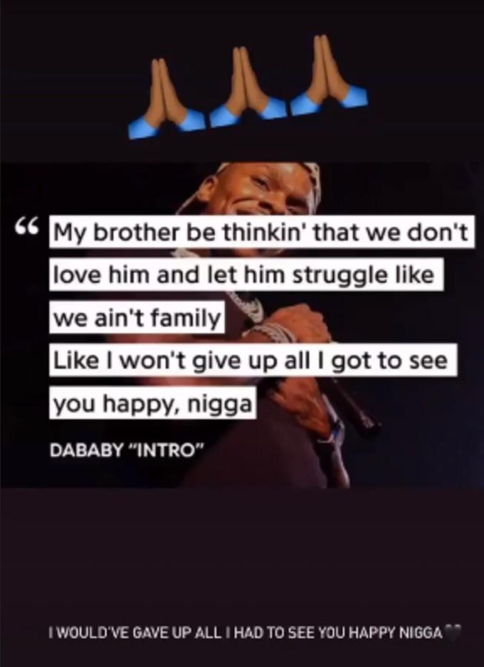 DaBaby shares lyrics to Instagram