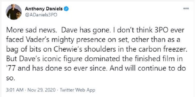 David Prowse tribute on Twitter