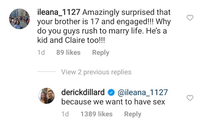 Derick Dillard's comment on Instagram