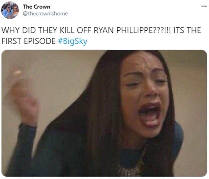 Fan annoyed that Big Sky killed off Ryan Phillippe
