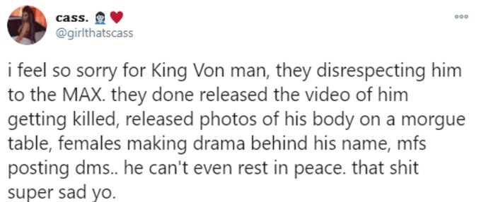 Fan complains of disrespect for King Von
