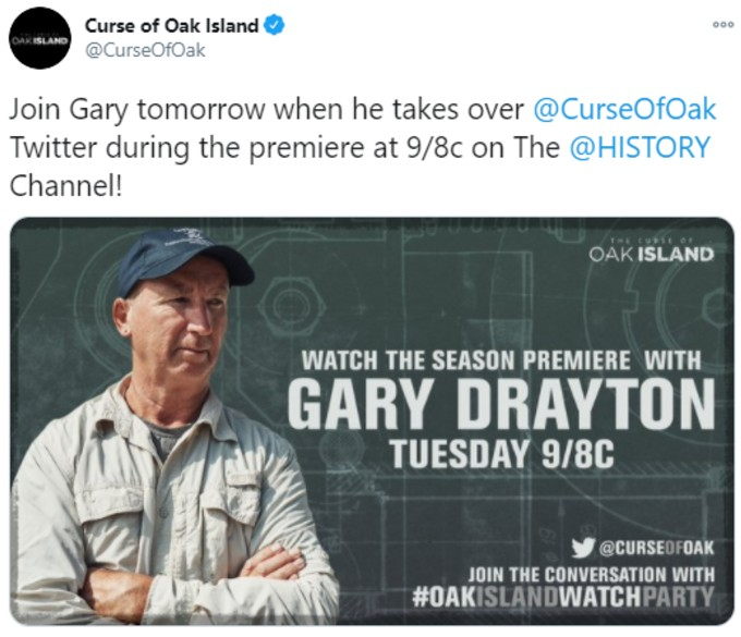 Gary Drayton will take over Oak Island tweets