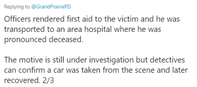 Grand Prairie Police tweet 2