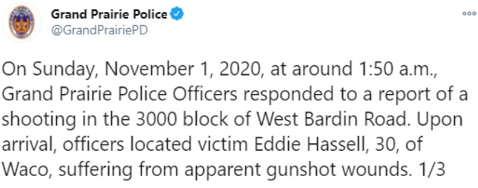 Grand Prairie police tweet on Eddie Hassell1
