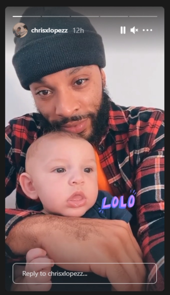 Chris Lopez posing with son Creed in a picture on his Instagram live