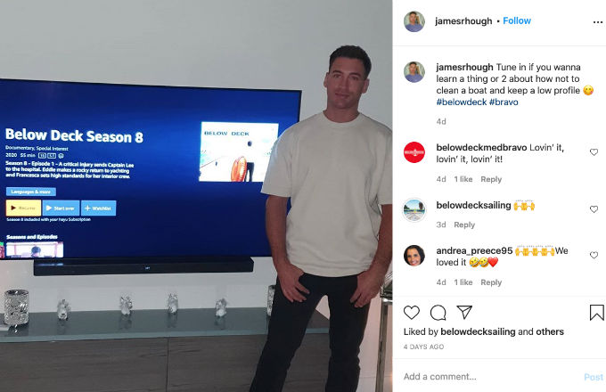 Below Deck James promoting Bravo show.