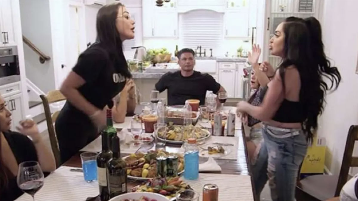"Jenni ""JWoww"" Farley and Angelina Pivarnick feud heats up over wedding speech and Snooki leaving Jersey Shore Family Vacation."