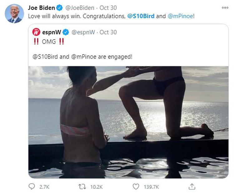 Sue Bird tweet by Joe Biden